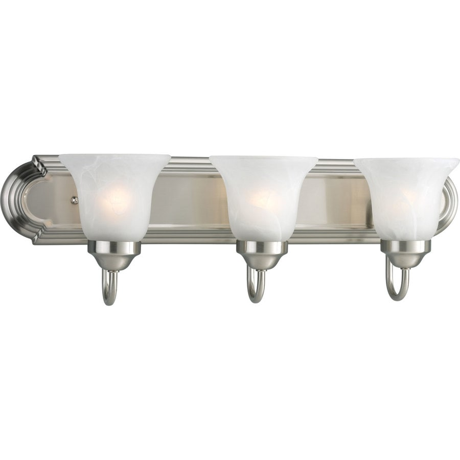 Progress Lighting Alabaster Glass 3-Light 7.25-in Brushed Nickel Bell Vanity Light