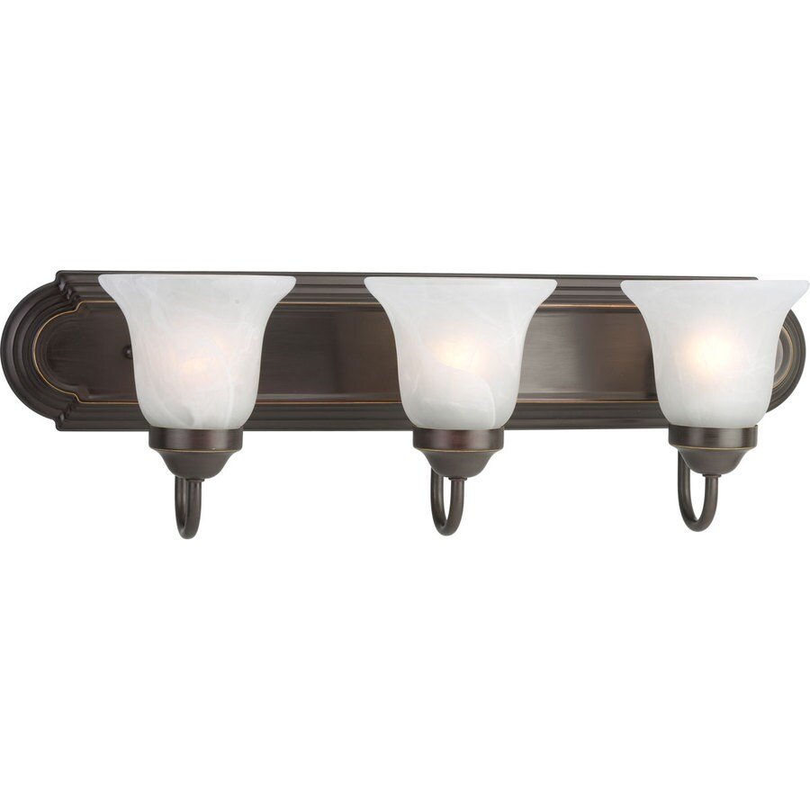 Bronze Vanity Lights With Clear Glass : Shop Progress Lighting Alabaster Glass 3-Light 7.25-in Antique Bronze Bell Vanity Light at Lowes.com