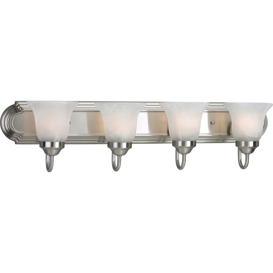 Progress Lighting Alabaster Glass 4-Light 7.25-in Brushed Nickel Bell Vanity Light