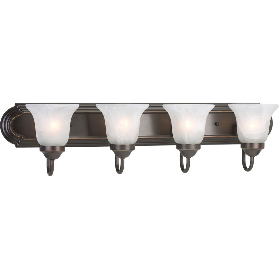Progress Lighting Alabaster Glass 4-Light 7.25-in Antique Bronze Bell Vanity Light