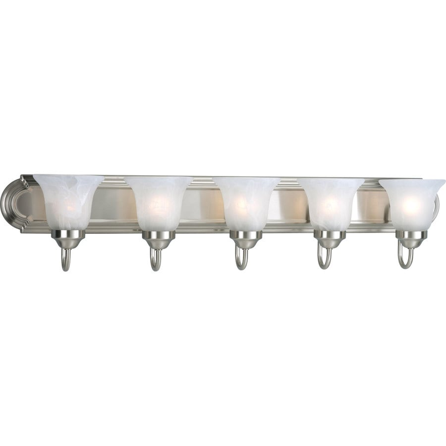 Glass Vial Vanity Light : Shop Progress Lighting Alabaster Glass 5-Light 7.25-in Brushed Nickel Bell Vanity Light at Lowes.com