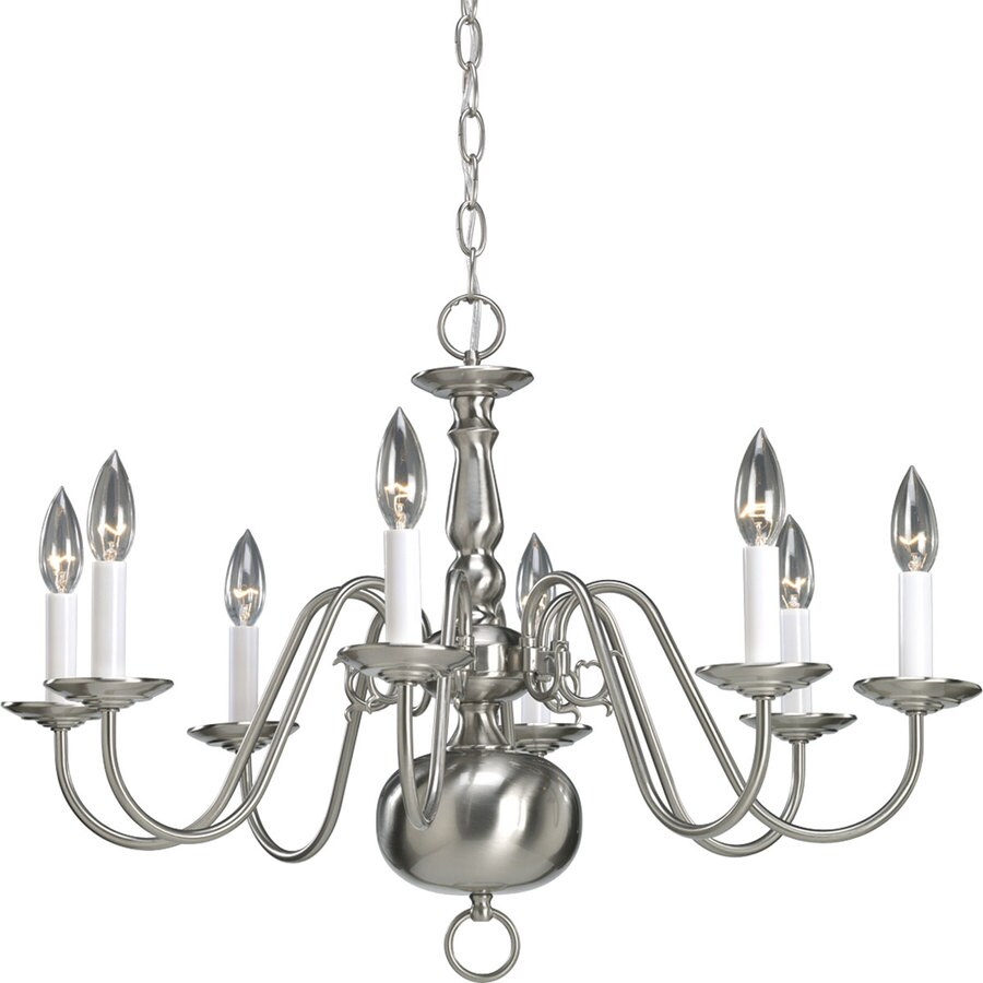 Progress Lighting Americana 26-in 8-Light Brushed Nickel Candle Chandelier
