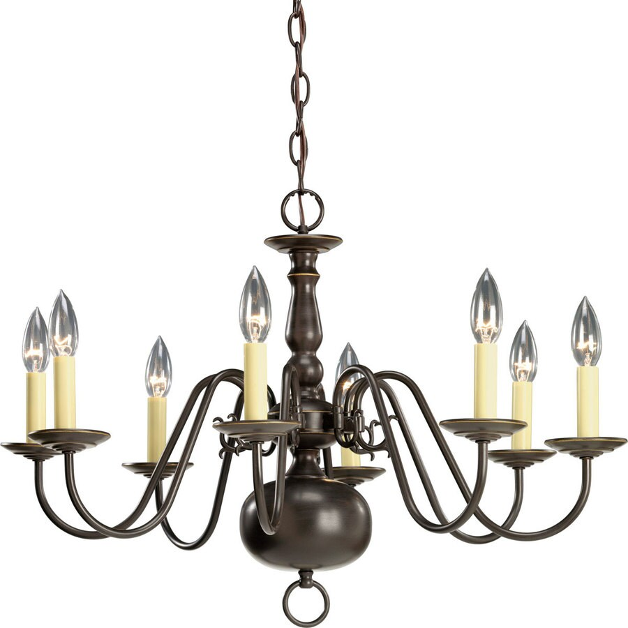 Progress Lighting Americana 26-in 8-Light Antique bronze Candle Chandelier