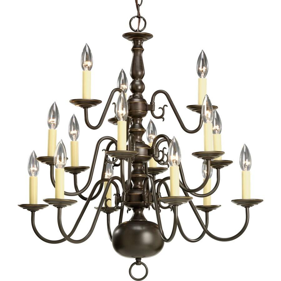 Progress Lighting Americana 26-in 15-Light Antique Bronze Candle Chandelier
