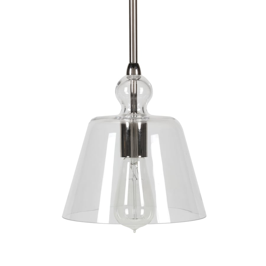 pendants 8 in polished nickel mini clear glass bell pendant at lowes