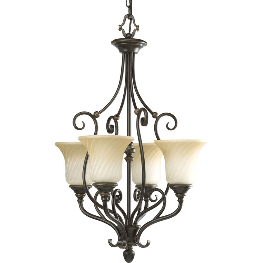 Progress Lighting Kensington 18-in 4-Light Forged bronze Tinted Glass Shaded Chandelier