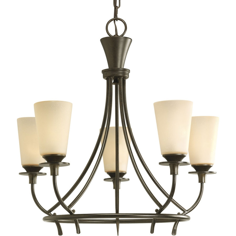 Progress Lighting Cantata 23-in 5-Light Forged Bronze Tinted Glass Shaded Chandelier