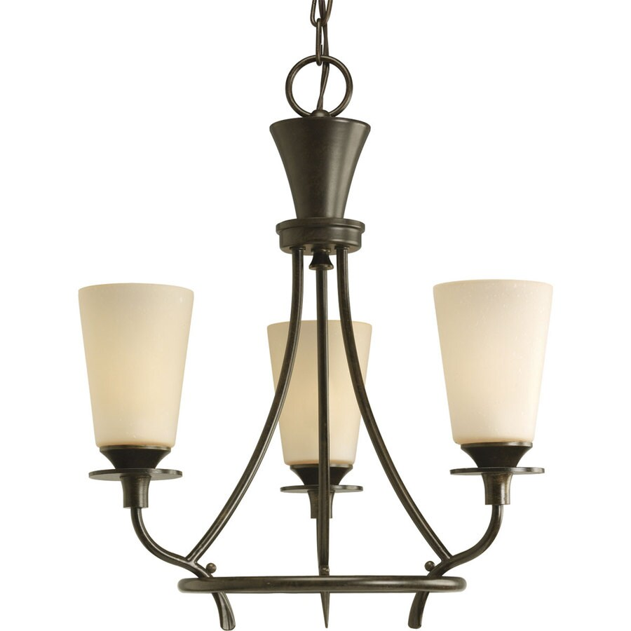 Progress Lighting Cantata 17-in 3-Light Forged Bronze Tinted Glass Shaded Chandelier