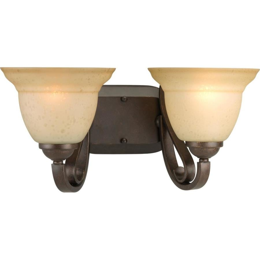 Progress Lighting Torino 2-Light 7.625-in Forged Bronze Bell Vanity Light