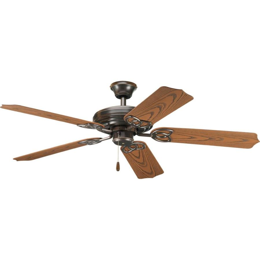 Progress Lighting AirPro 52-in Antique Bronze Downrod or Close Mount Indoor/Outdoor Ceiling Fan