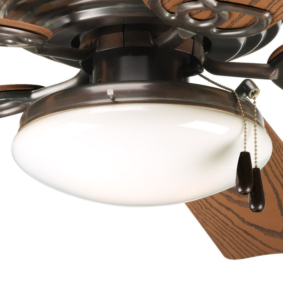 Progress Lighting Airpro 2-Light Antique Bronze Incandescent Ceiling Fan Light Kit with Frosted Glass