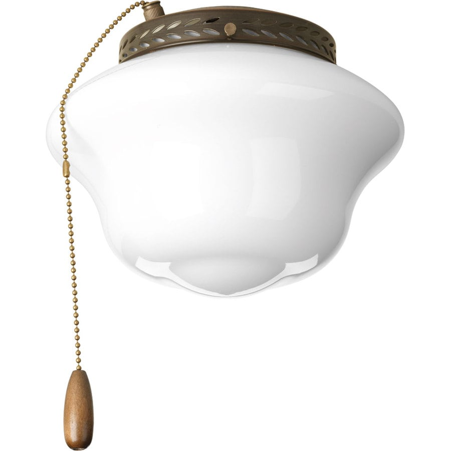 Progress Lighting Airpro 1-Light Antique Bronze Incandescent Ceiling Fan Light Kit with Frosted Glass