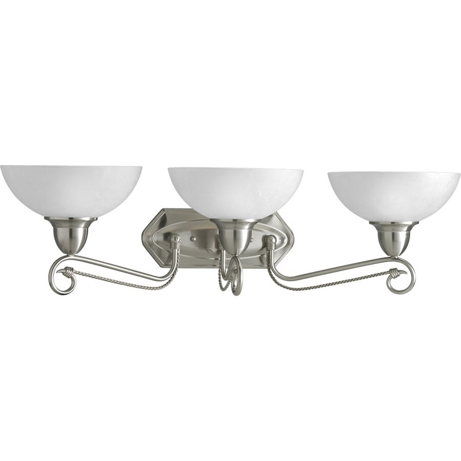 Progress Lighting Pavilion 3-Light 8.875-in Brushed Nickel Bell Vanity Light