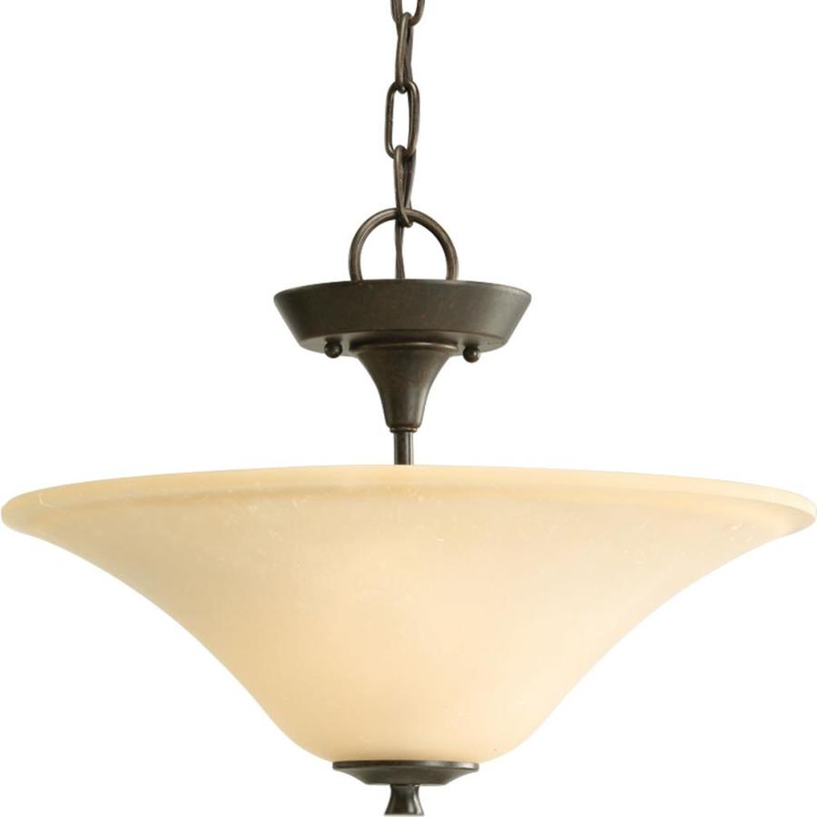 Progress Lighting Cantata 15.75-in W Forged bronze Tea-stained Glass Semi-Flush Mount Light