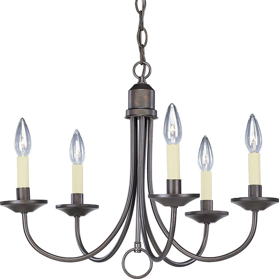 Progress Lighting 21-in 5-Light Antique Bronze Shaded Chandelier