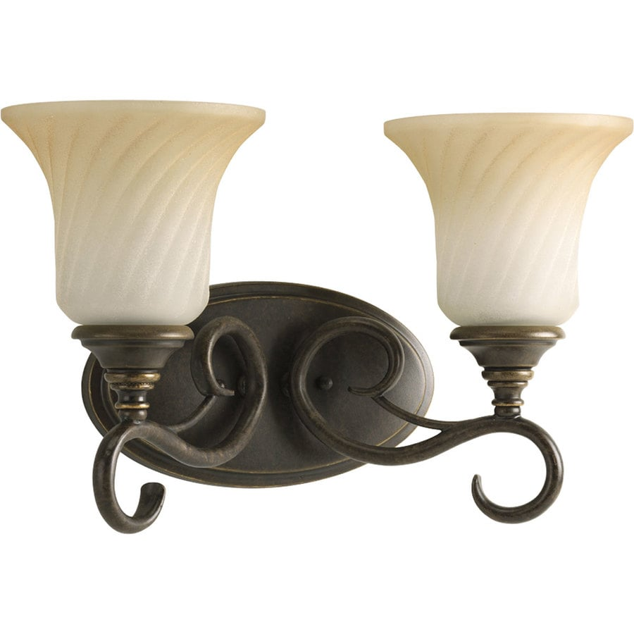 Progress Lighting Kensington 2-Light 9.5-in Forged Bronze Bell Vanity Light