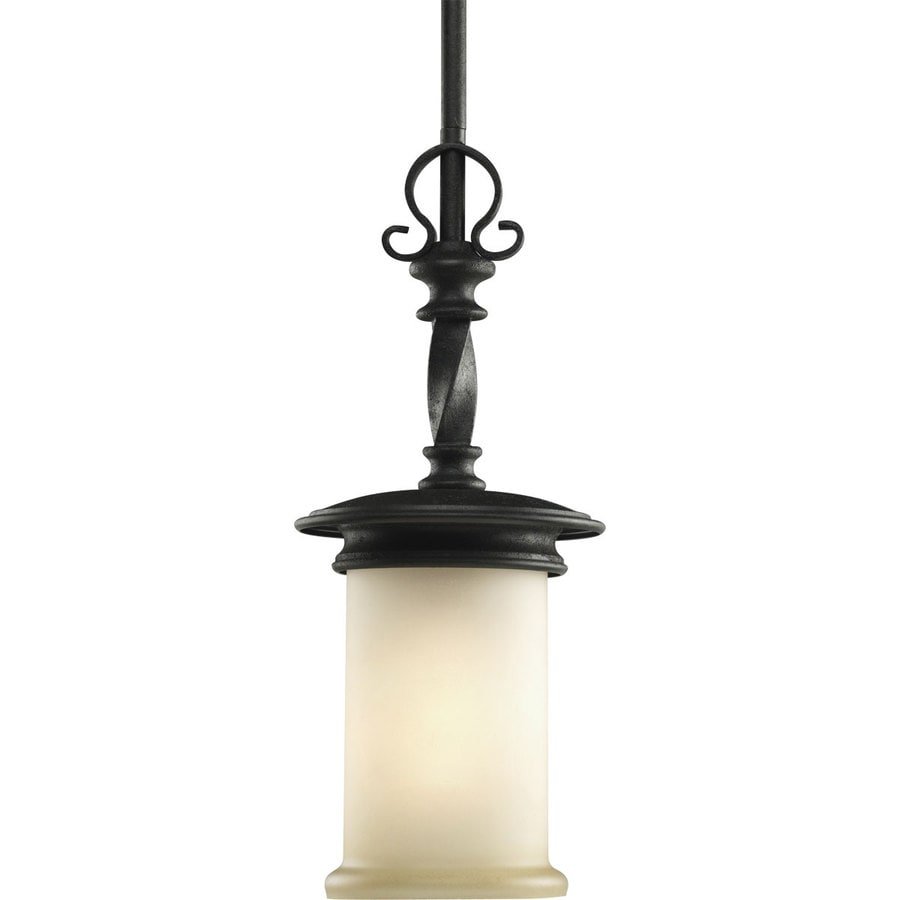 Progress Lighting Santiago 6.25-in Forged Black Mini Tinted Glass Cylinder Pendant