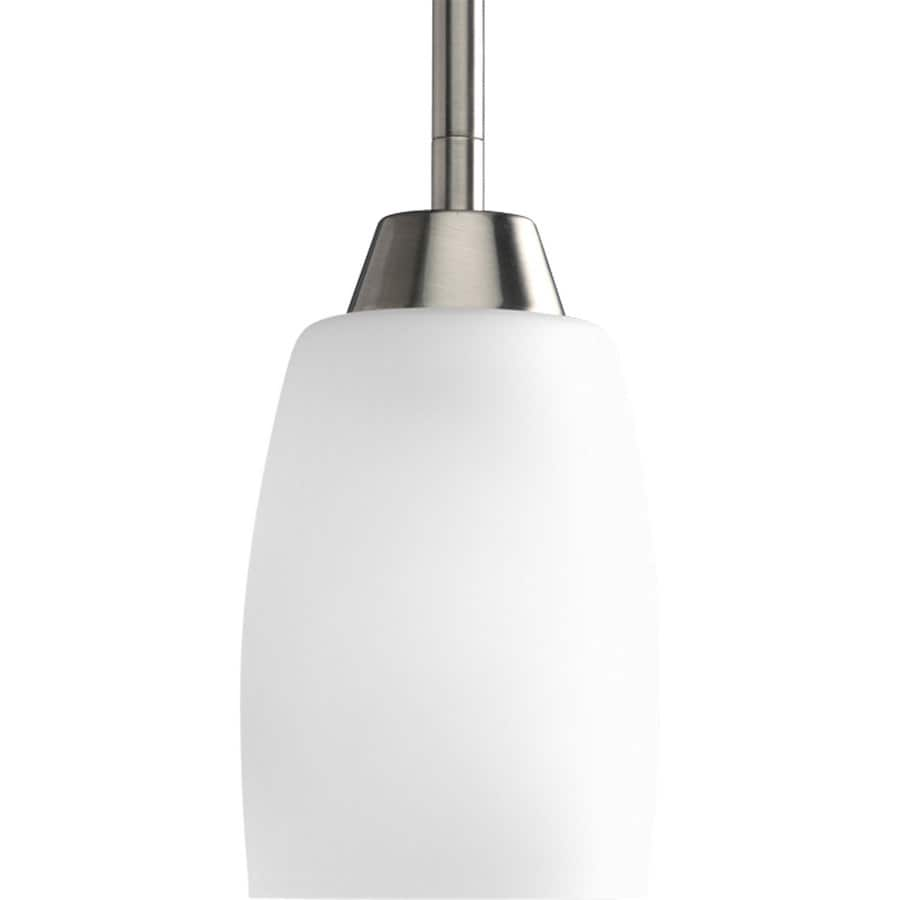 Progress Lighting Wisten 4-in Brushed Nickel Mini Etched Glass Cylinder Pendant