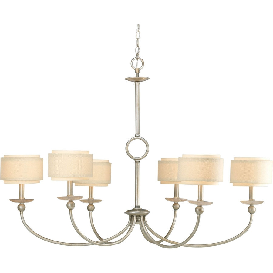 Progress Lighting Ashbury 46-in 6-Light Silver ridge Shaded Chandelier