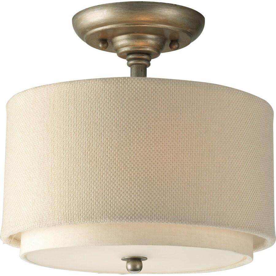 Progress Lighting Ashbury 10-in W Silver Ridge Fabric Semi-Flush Mount Light