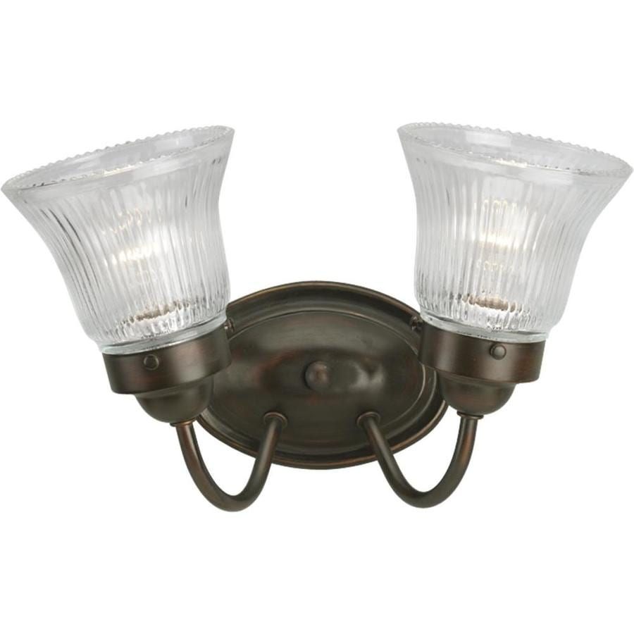 Progress Lighting Fluted Glass 2-Light 8.75-in Antique bronze Bell Vanity Light