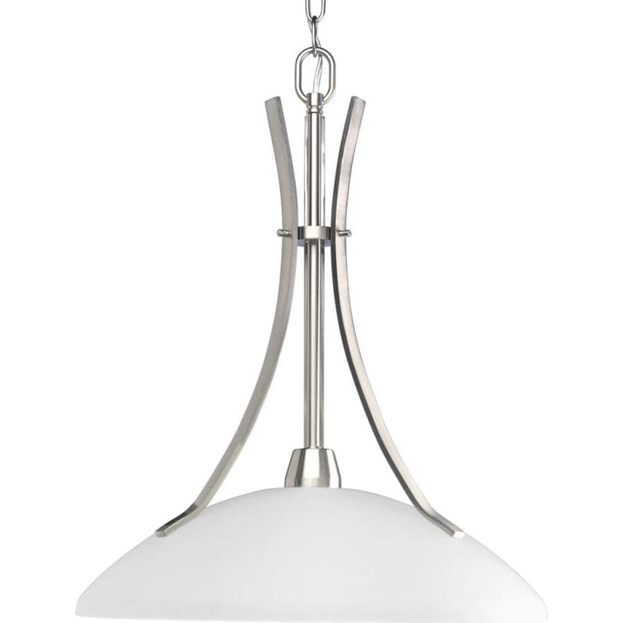 Progress Lighting Wisten 17-in Brushed Nickel Single Etched Glass Cylinder Pendant