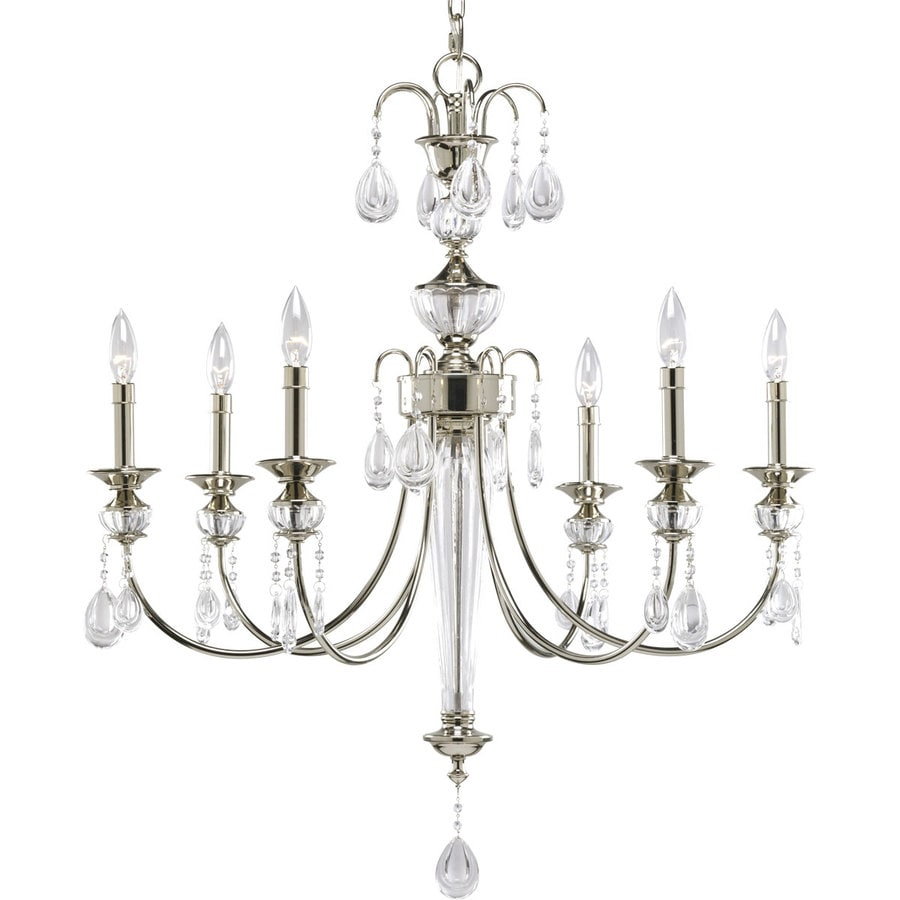 Progress Lighting Noir 28.5-in 6-Light Polished Nickel Crystal Clear Glass Shaded Chandelier
