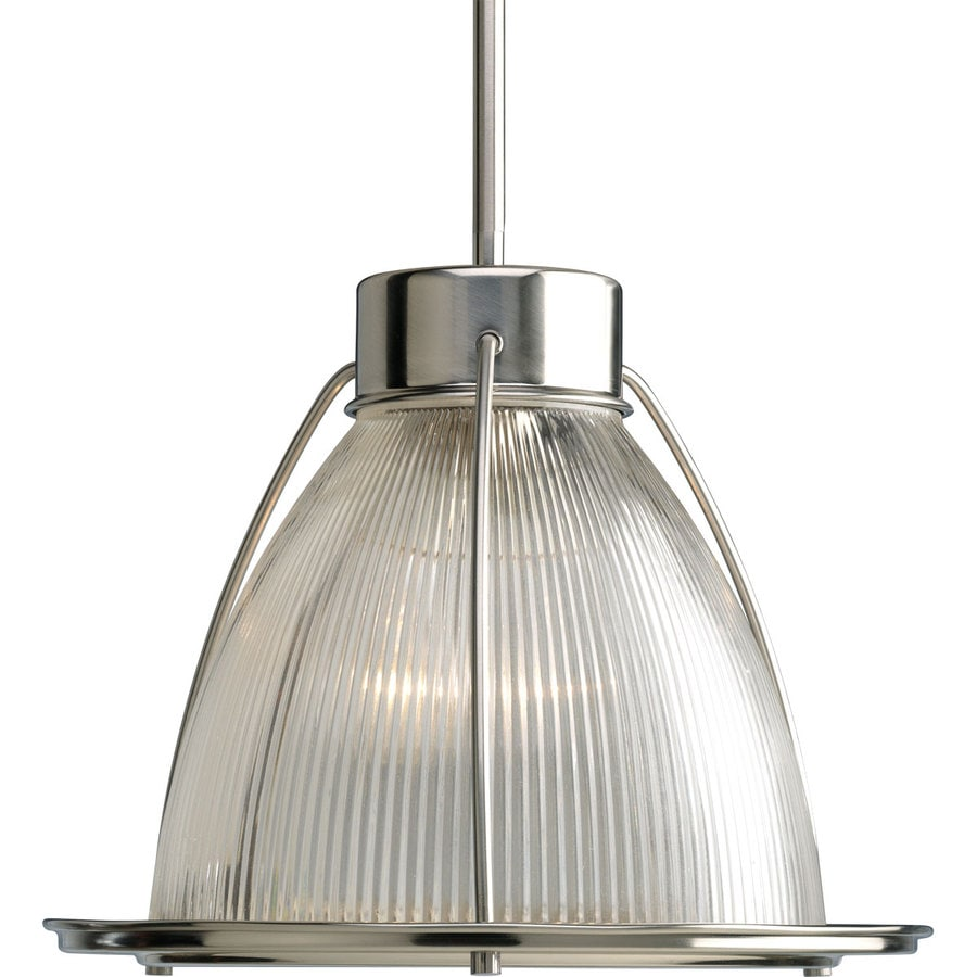 Progress Lighting Prismatic Glass 12.62-in Brushed Nickel Single Clear Glass Bell Pendant