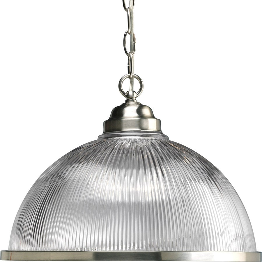 Progress Lighting Prismatic Glass 15.25-in Brushed Nickel Single Clear Glass Bell Pendant