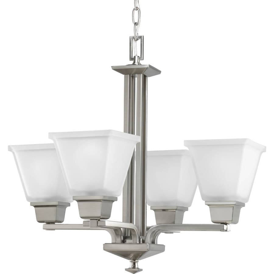 Progress Lighting North Park 21-in 4-Light Brushed Nickel Etched Glass Shaded Chandelier