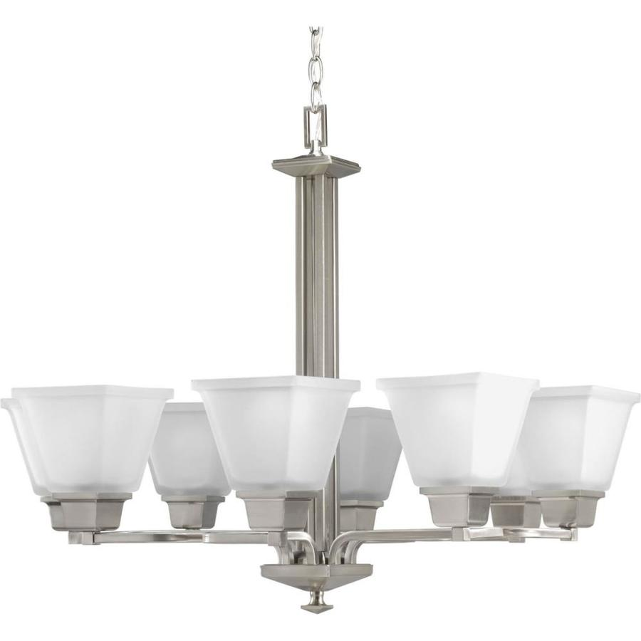 Progress Lighting North Park 27.25-in 8-Light Brushed Nickel Etched Glass Tiered Chandelier