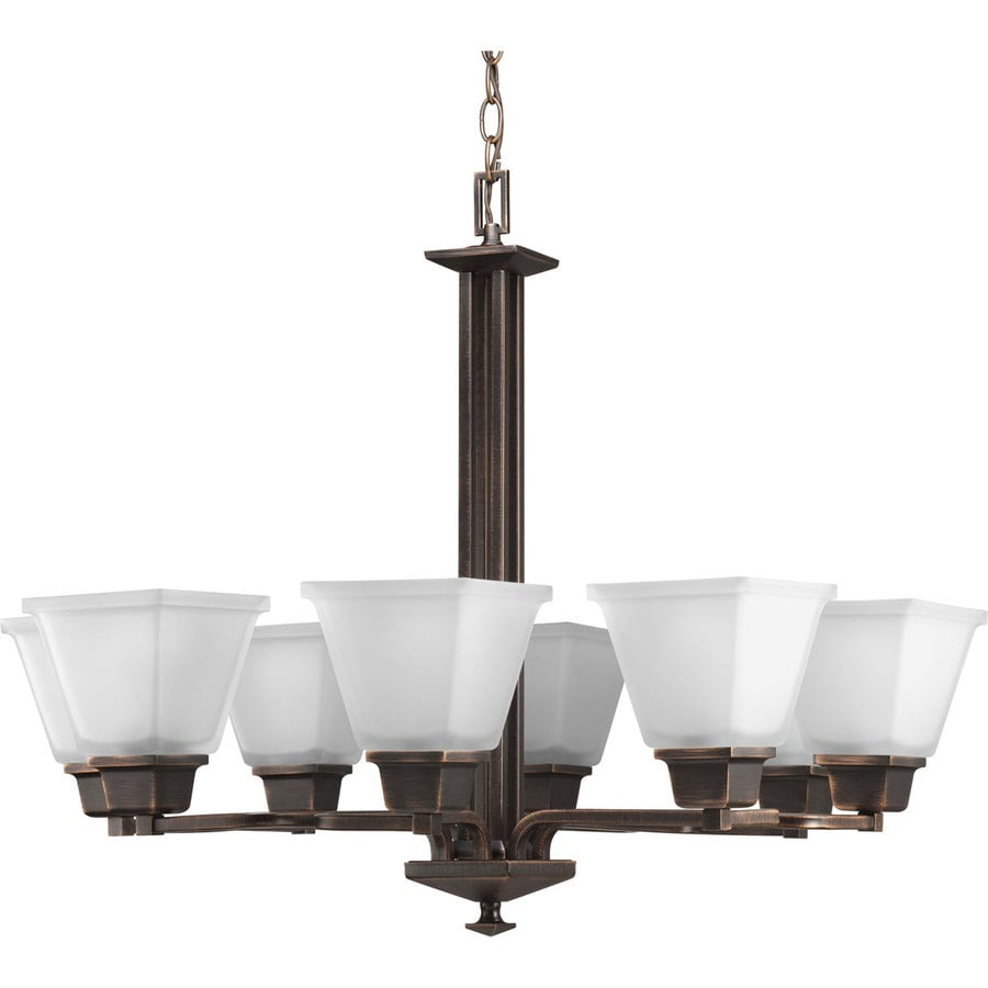 Progress Lighting North Park 27.25-in 8-Light Venetian Bronze Etched Glass Tiered Chandelier