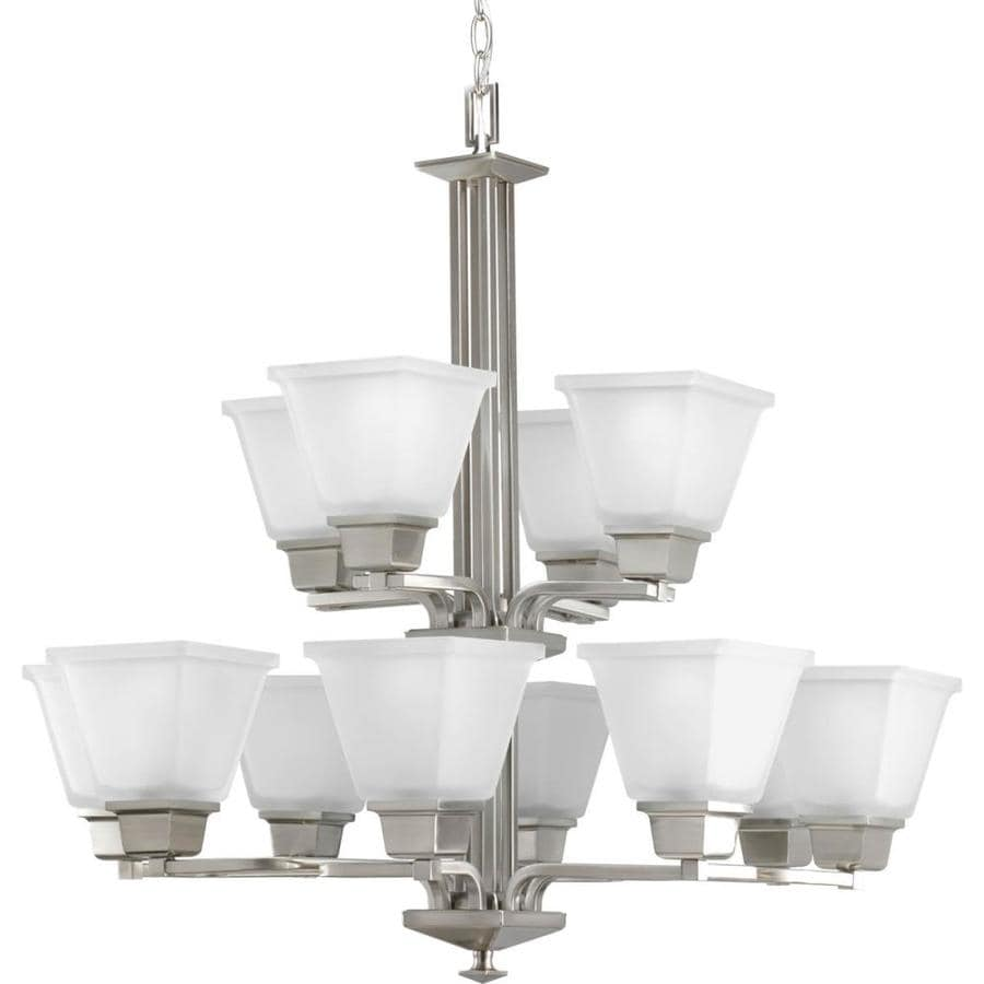 Progress Lighting North Park 27.25-in 12-Light Brushed Nickel Etched Glass Tiered Chandelier
