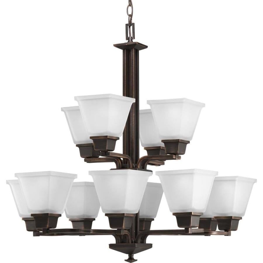 Progress Lighting North Park 27.25-in 12-Light Venetian Bronze Etched Glass Tiered Chandelier