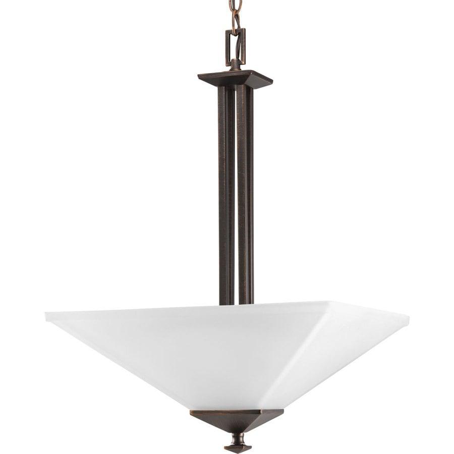 Progress Lighting North Park 16-in 2-Light Venetian bronze Etched Glass Shaded Chandelier