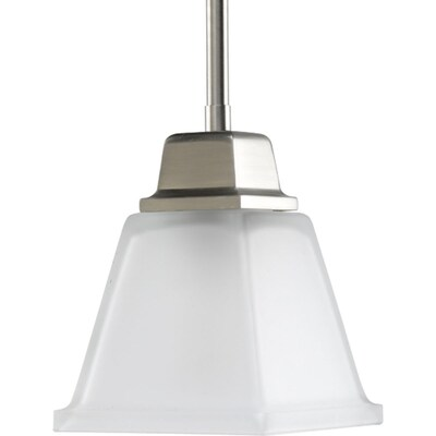 North Park Brushed Nickel Mini Transitional Etched Gl Square Pendant Light