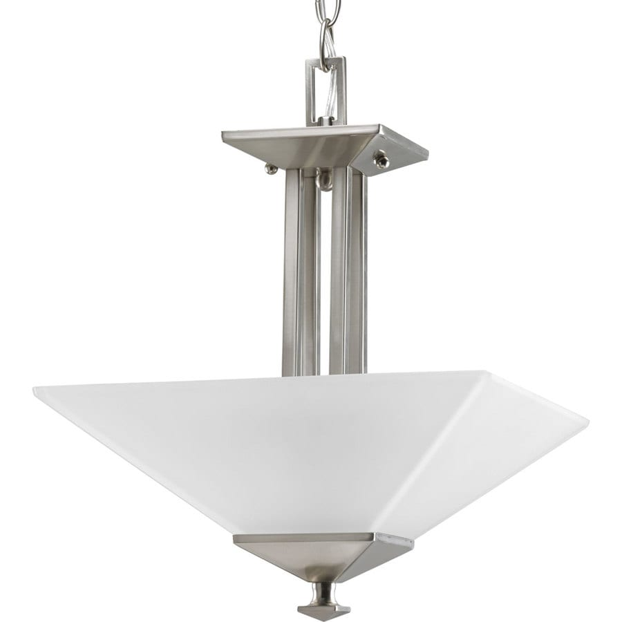 Progress Lighting North Park 12.75-in W Brushed Nickel Frosted Glass Semi-Flush Mount Light