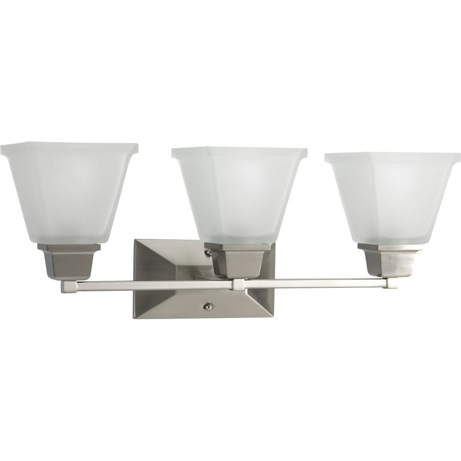 Progress Lighting North Park 3-Light 9-in Brushed Nickel Square Vanity Light