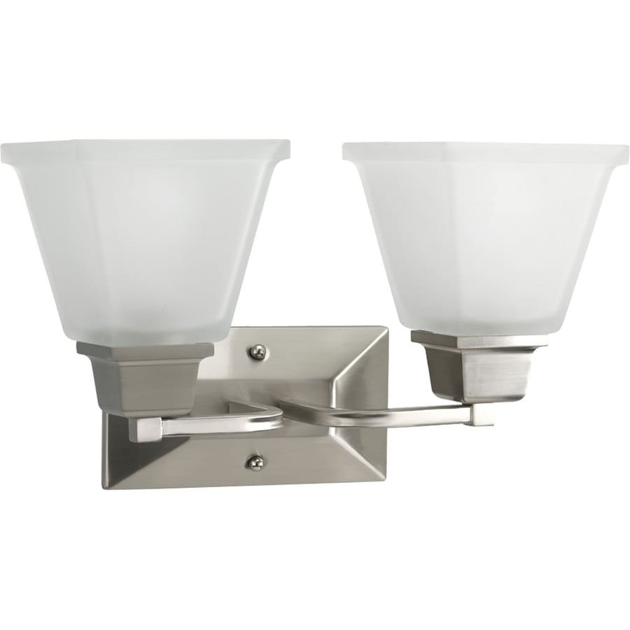 Progress Lighting North Park 2-Light 9-in Brushed Nickel Square Vanity Light