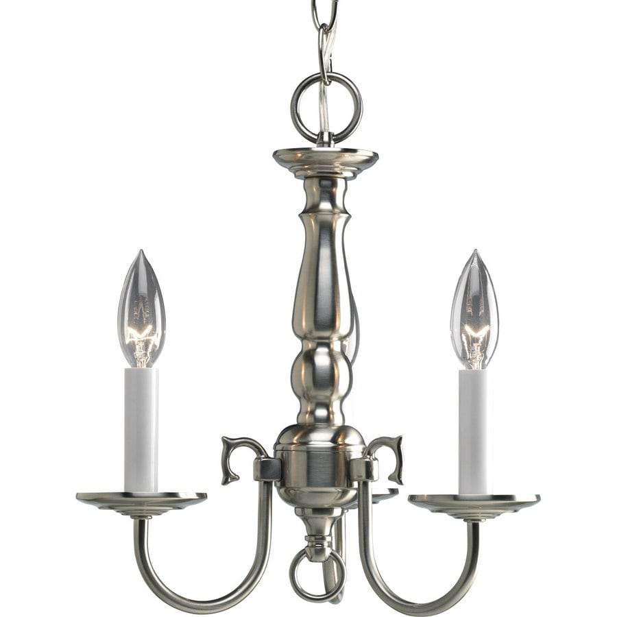 Progress Lighting Americana 13-in 3-Light Brushed Nickel Shaded Chandelier
