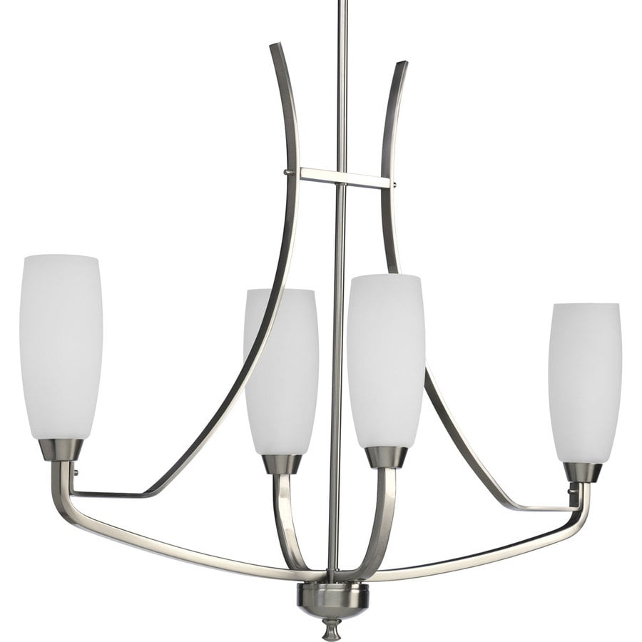 Progress Lighting Wisten 34.875-in 4-Light Brushed Nickel Etched Glass Shaded Chandelier