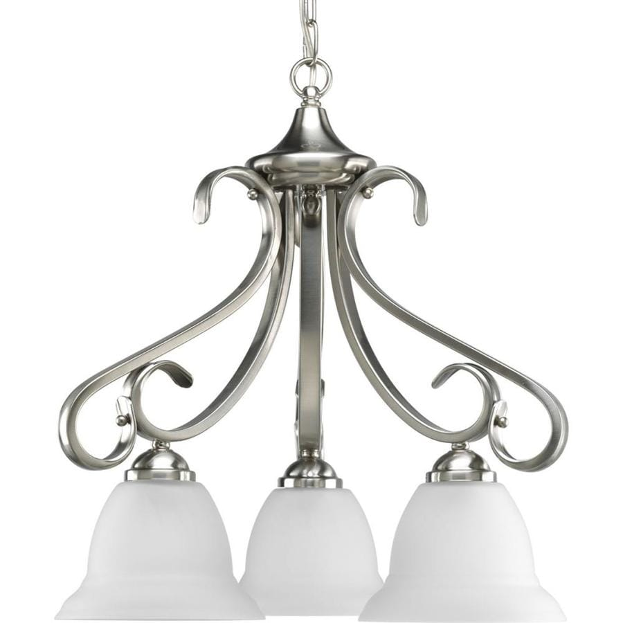 Progress Lighting Torino 19.125-in 3-Light Brushed nickel Etched Glass Shaded Chandelier