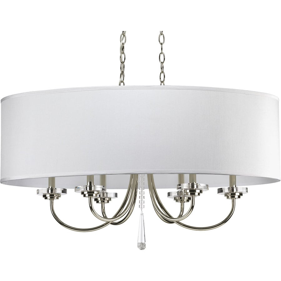 Progress Lighting Nisse 35.75-in 6-Light Polished nickel Shaded Chandelier