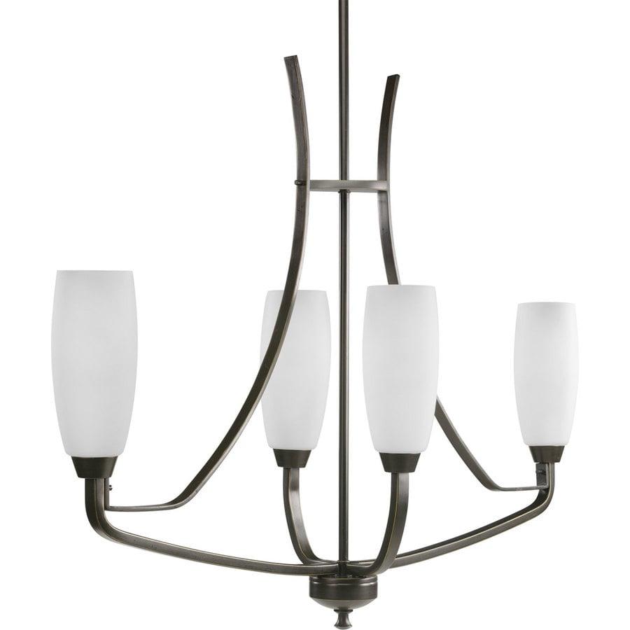 Progress Lighting Wisten 34.875-in 4-Light Antique Bronze Etched Glass Shaded Chandelier