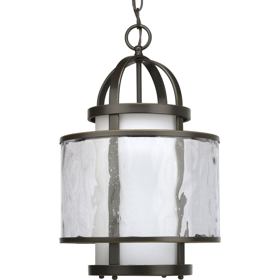 Progress Lighting Bay Court 11.75-in 1-Light Antique Bronze Clear Glass Shaded Chandelier