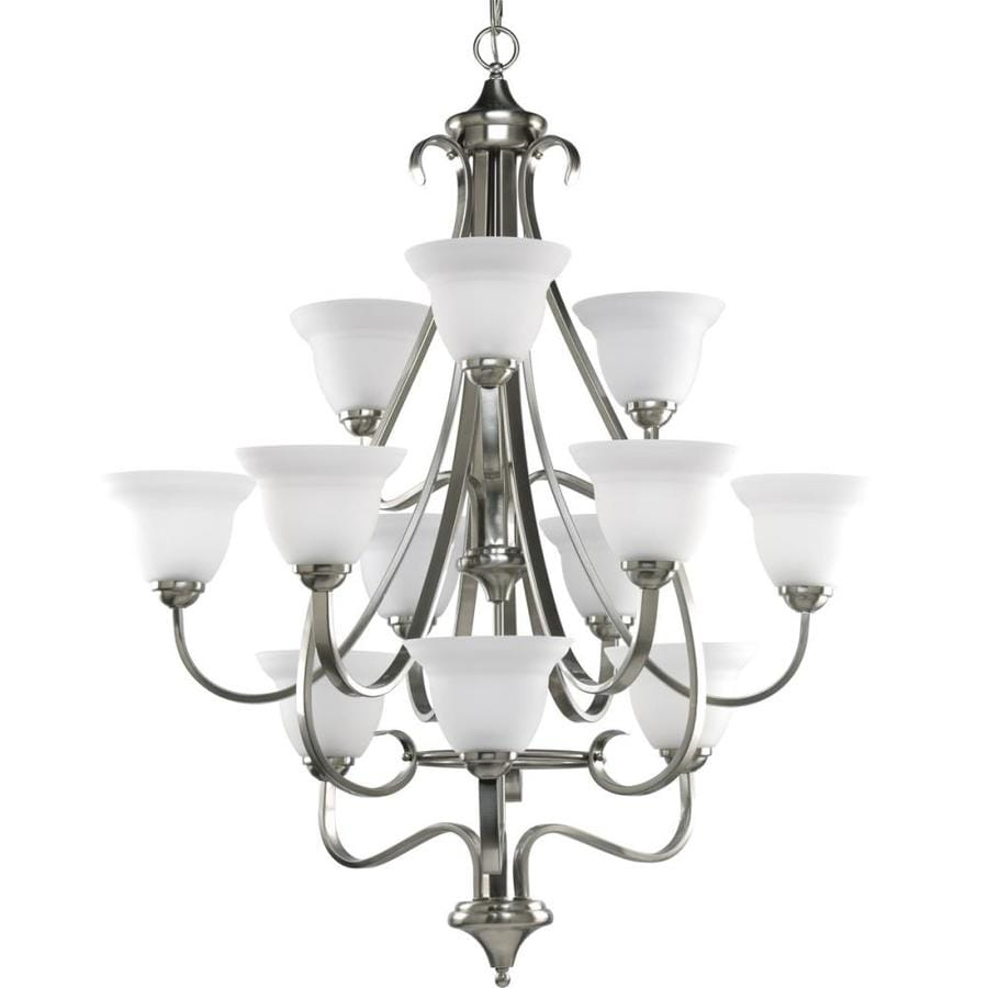 Progress Lighting Torino 34-in 12-Light Brushed Nickel Etched Glass Tiered Chandelier
