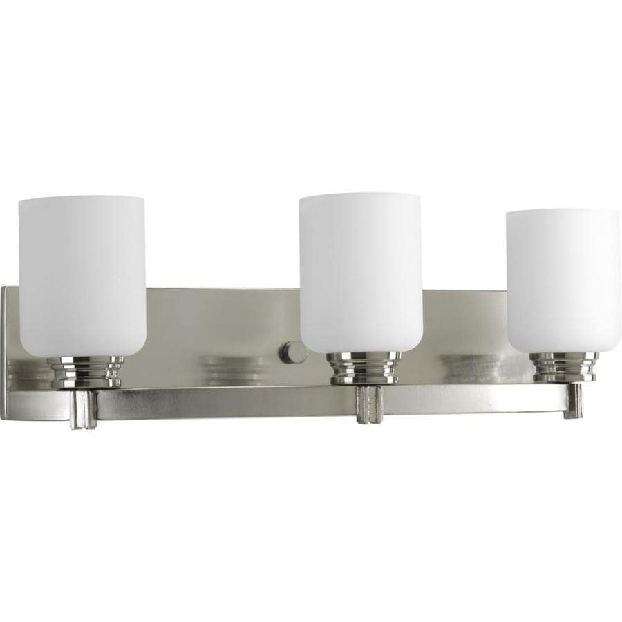 bathroom vanity light shop progress lighting orbitz 3 light 21 75 in brushed 11915
