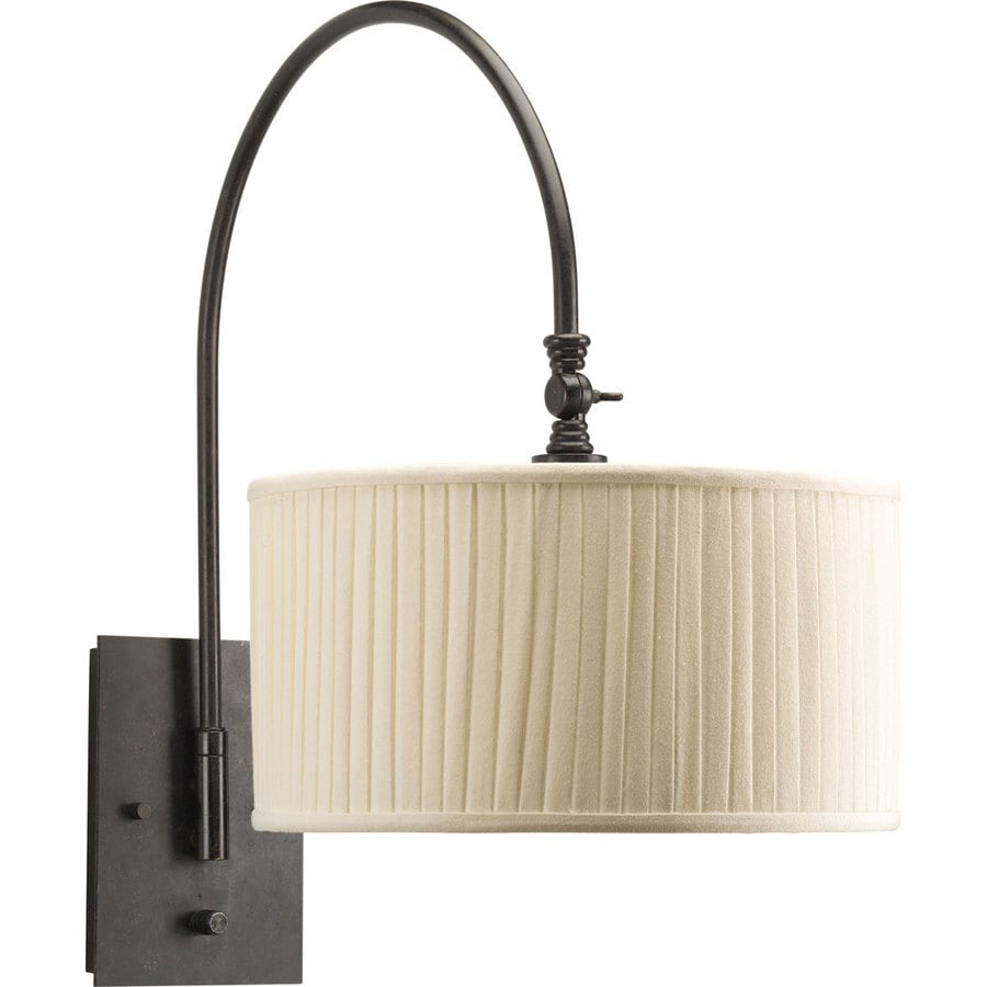 Progress Lighting 22.375-in H 3-Way Espresso Swing-Arm Casual/Transitional Wall-Mounted Lamp with Fabric Shade