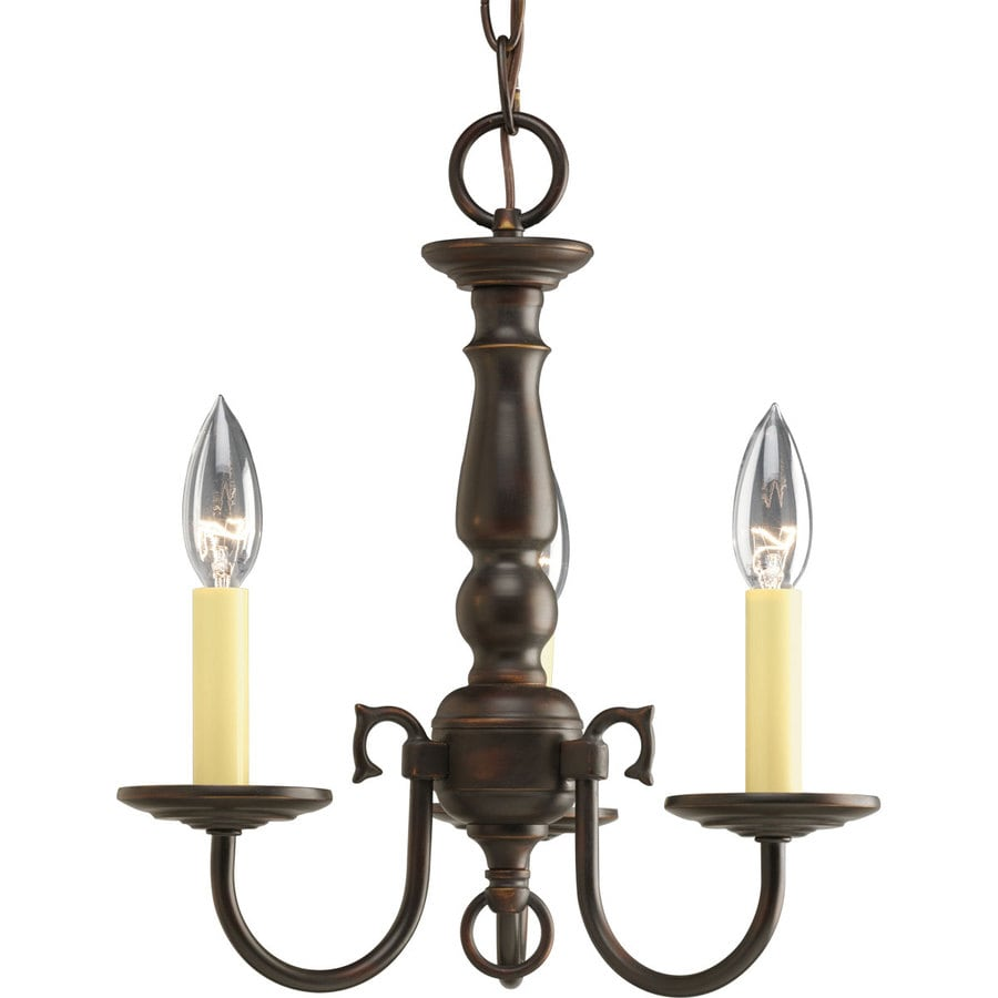 Progress Lighting Americana 13-in 3-Light Antique Bronze Shaded Chandelier