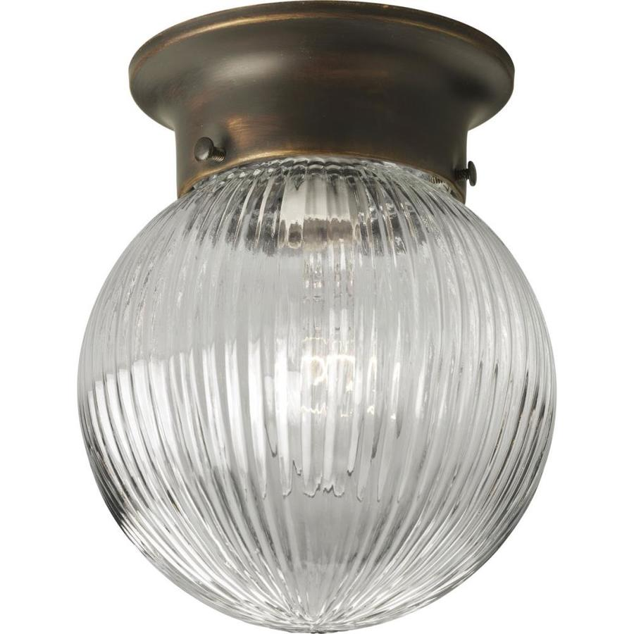 Progress Lighting Gl Globes 6 In W Antique Bronze Transitional Standard Flush Mount Light